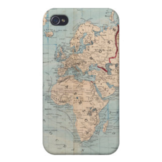Map of the world on Mercator's projection Cases For iPhone 4