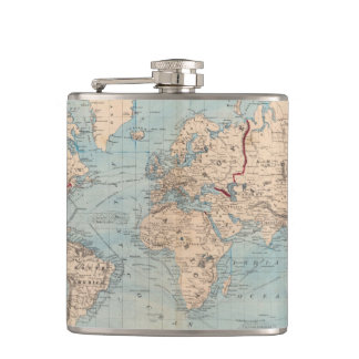 Map of the world on Mercator's projection Hip Flask