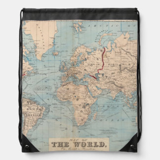 Map of the world on Mercator's projection Drawstring Backpack