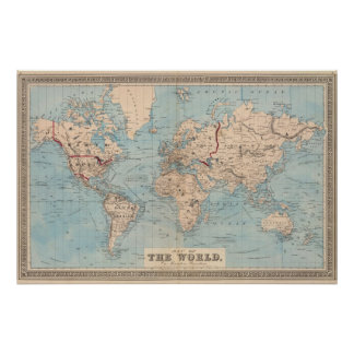 Map of the world on Mercator's projection Poster