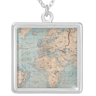 Map of the world on Mercator's projection Silver Plated Necklace