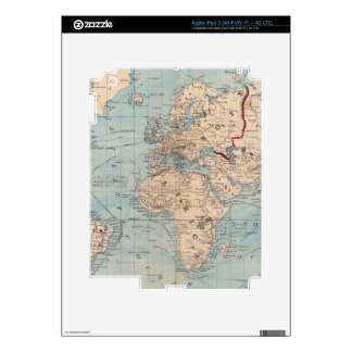 Map of the world on Mercator's projection Decal For iPad 3