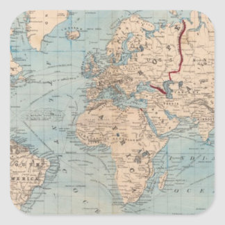 Map of the world on Mercator's projection Square Sticker