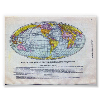 MAP OF THE WORLD ON THE EQUIVALENT PROJECTION POSTER