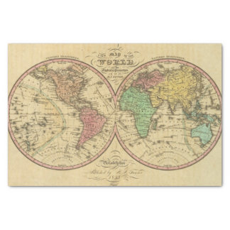 """Map Of The World on the Globular Projection 10"""" X 15"""" Tissue Paper"""