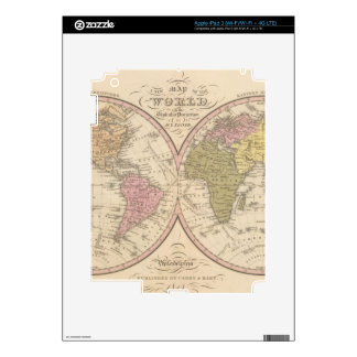 Map Of The World on the Globular Projection 2 Decal For iPad 3