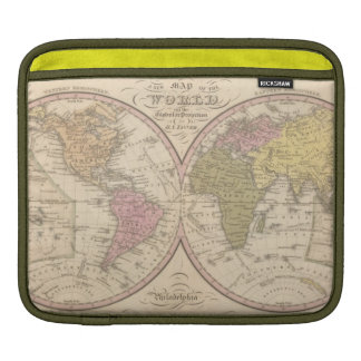 Map Of The World on the Globular Projection 2 Sleeves For iPads