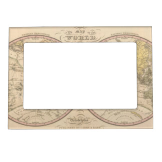 Map Of The World on the Globular Projection 2 Magnetic Picture Frame