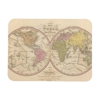 Map Of The World on the Globular Projection 2 Rectangular Magnet