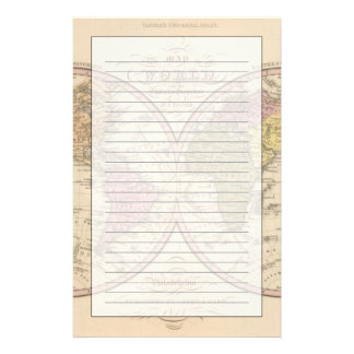 Map Of The World on the Globular Projection 2 Stationery