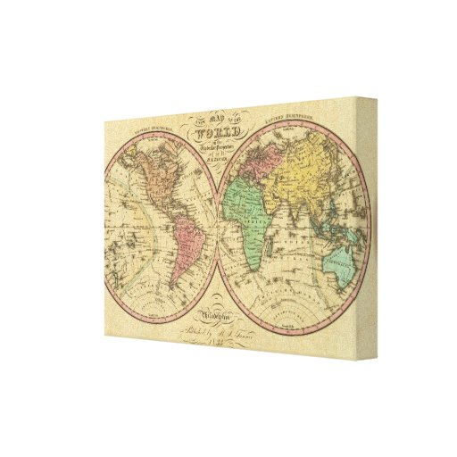 Map Of The World on the Globular Projection Canvas Print