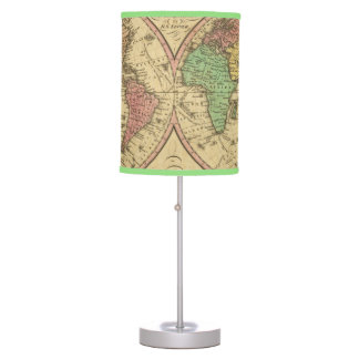 Map Of The World on the Globular Projection Table Lamp