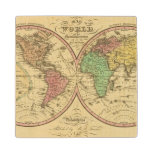 Map Of The World on the Globular Projection Wood Coaster