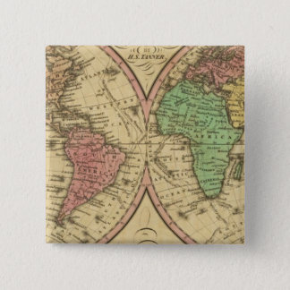 Map Of The World on the Globular Projection Pinback Button