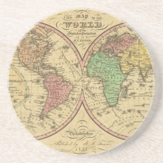 Map Of The World on the Globular Projection Drink Coasters