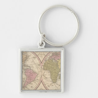 Map Of The World on the Globular Projection Silver-Colored Square Keychain