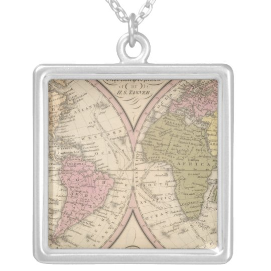 Map Of The World on the Globular Projection Silver Plated Necklace
