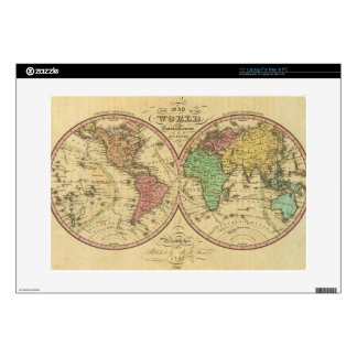 """Map Of The World on the Globular Projection 15"""" Laptop Skins"""