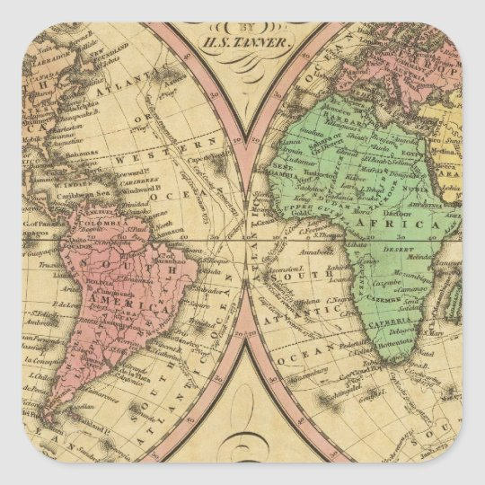 Map Of The World on the Globular Projection Square Sticker