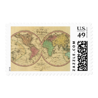 Map Of The World on the Globular Projection Stamp