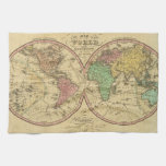 Map Of The World on the Globular Projection Towels