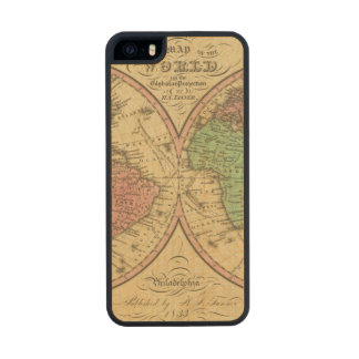 Map Of The World on the Globular Projection Carved® Maple iPhone 5 Slim Case