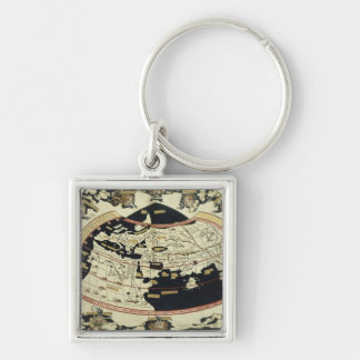 Map of the world Silver-Colored square keychain