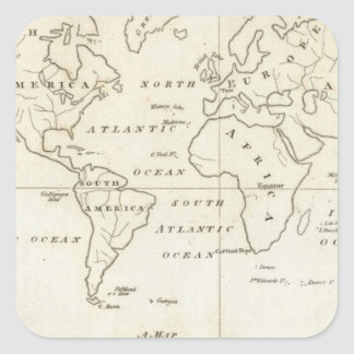 Map of the World Square Sticker