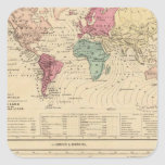 Map of The World Square Stickers