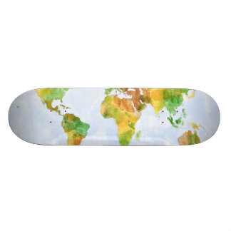 Map of the World Watercolour Skateboard