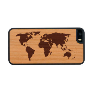 Map of the World Wood Phone Case For iPhone SE/5/5s
