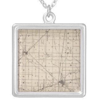 Map of Tipton County Silver Plated Necklace