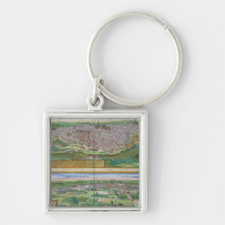 Map of Toledo and Valladolid, from 'Civitates Orbi Silver-Colored Square Keychain