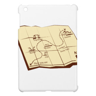 Map of Trail with X Marks The Spot Woodcut iPad Mini Cover