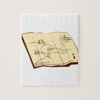 Map of Trail with X Marks The Spot Woodcut Jigsaw Puzzle