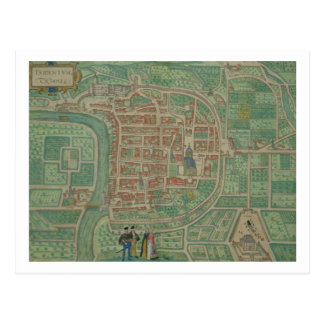Map of Trento from Civitates Orbis Terrarum by Post Card