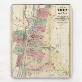 Map of Troy West Troy Green Island New York (1874) Mouse Pad