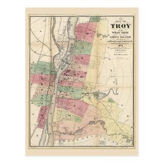 Map of Troy West Troy Green Island New York (1874) Postcard