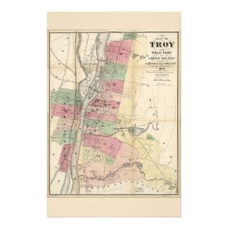 Map of Troy West Troy Green Island New York (1874) Stationery