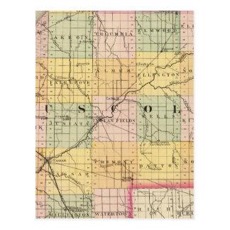 Map of Tuscola County, Michigan Postcard