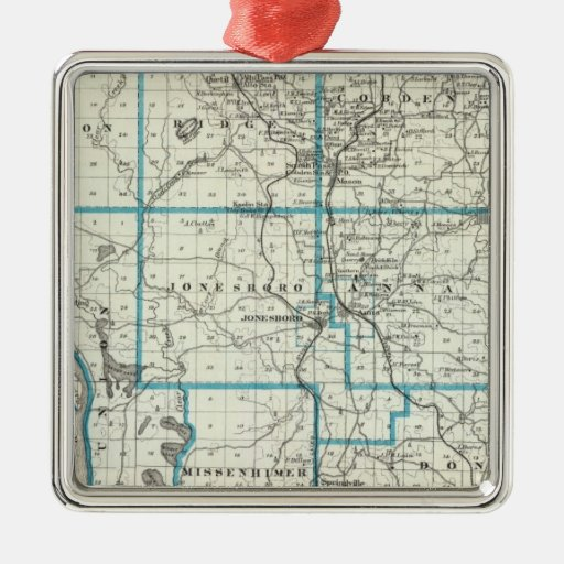 Map of Union County Square Metal Christmas Ornament