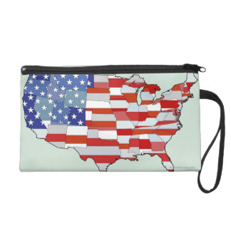 Map of United States of America Wristlet Purse