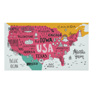 Cute Map Posters & Photo Prints | Zazzle