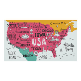 Cute Map Posters Zazzle