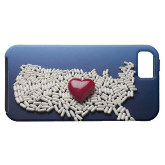 Map of USA made of pills with red heart iPhone 5 Case