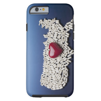 Map of USA made of pills with red heart Tough iPhone 6 Case