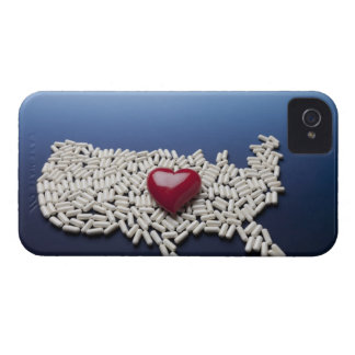 Map of USA made of pills with red heart iPhone 4 Case