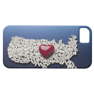 Map of USA made of pills with red heart iPhone SE/5/5s Case