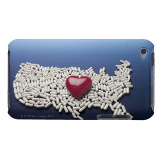 Map of USA made of pills with red heart iPod Touch Case