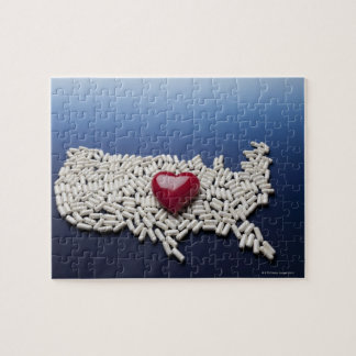 Map of USA made of pills with red heart Jigsaw Puzzle